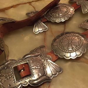 Sterling Silver Indian Concho Leather Belt